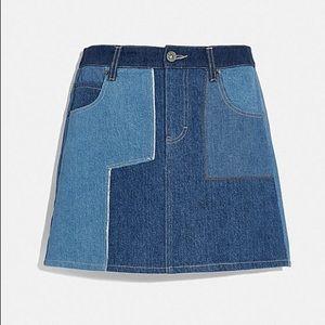NWT COACH Denim Patchwork Mini Skirt Jeans Rexy